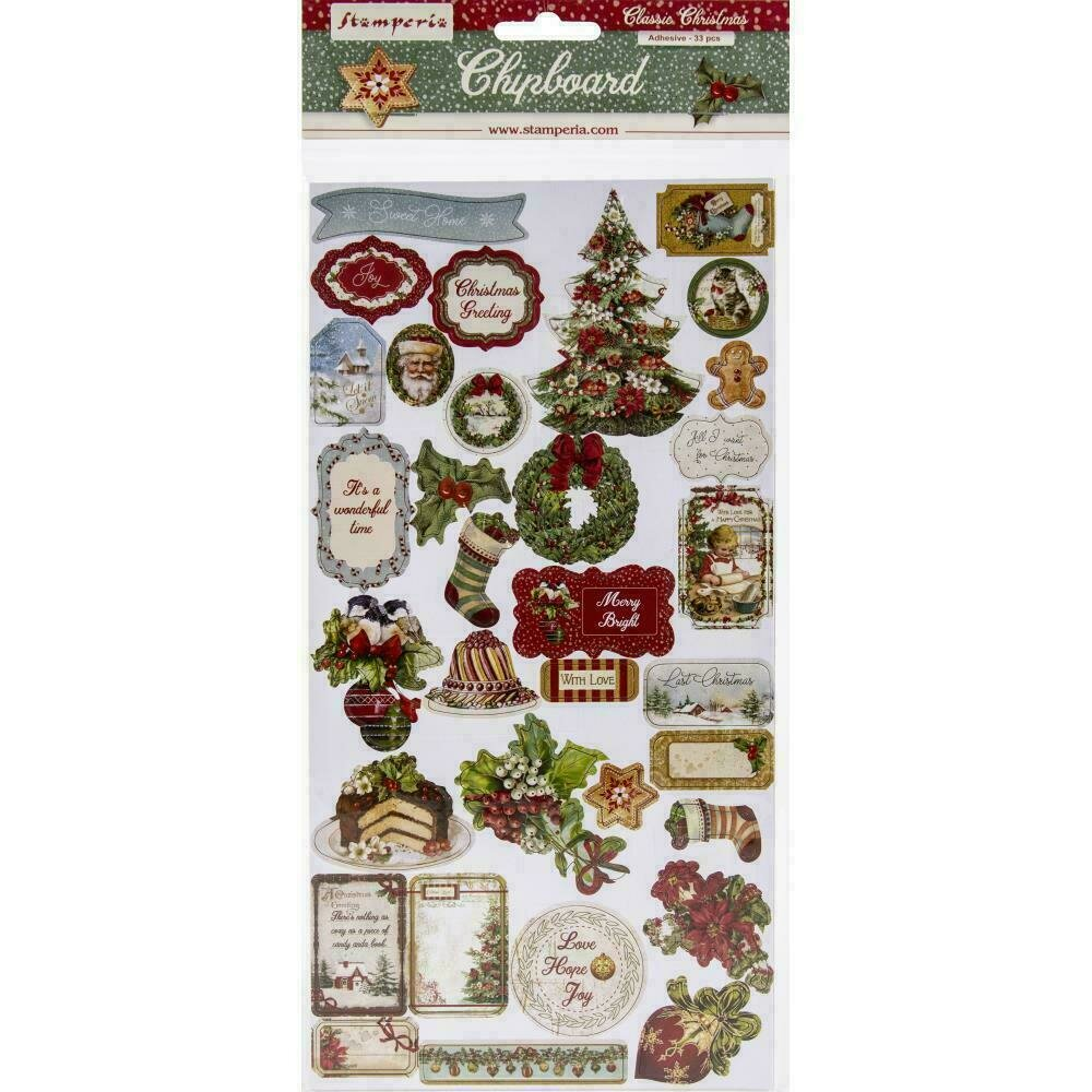 """Stamperia Adhesive Chipboard 6""""X12"""" Classic Christmas"""