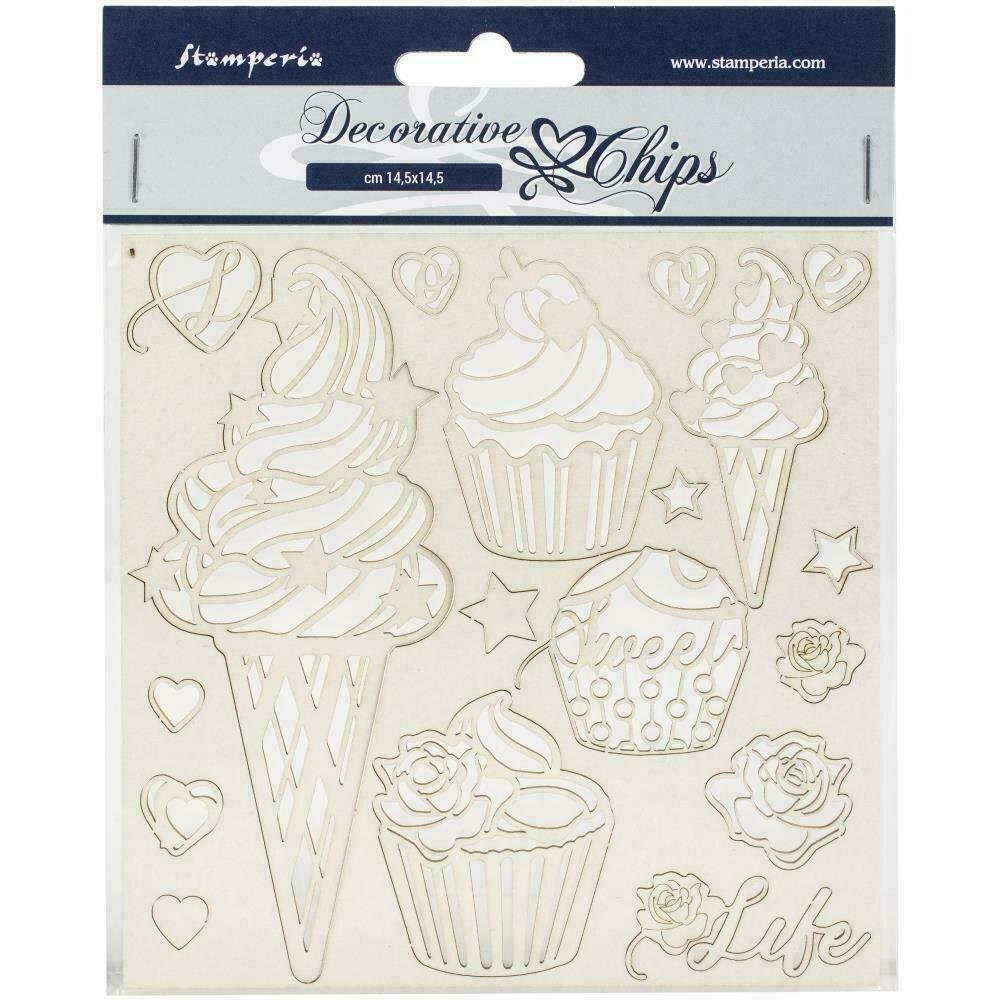 "Stamperia Decorative Chips 5.5""X5.5"" Ice Cream"