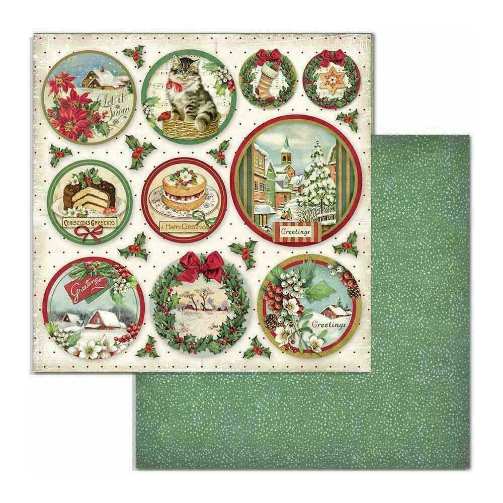 """Stamperia Double-Sided Cardstock 12""""X12"""" Rounds Classic Christmas"""