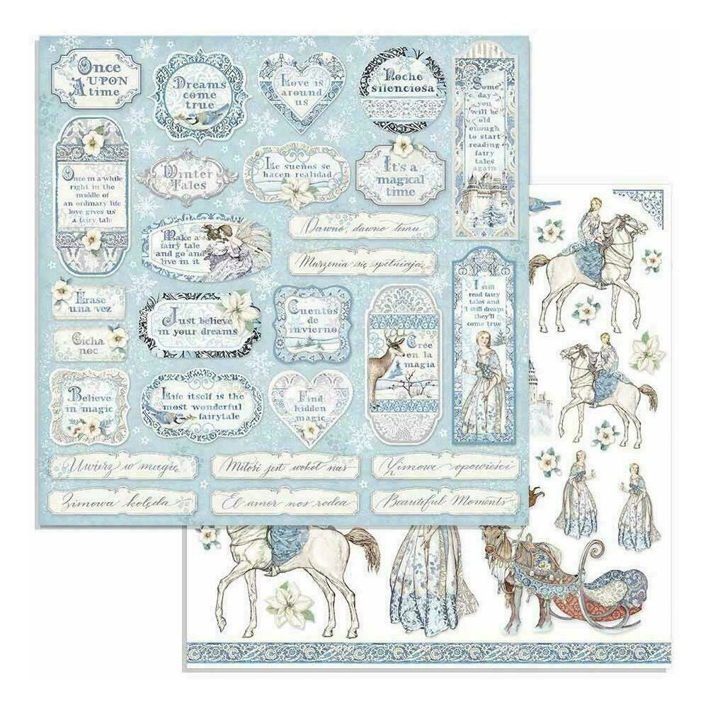 """Stamperia Double-Sided Cardstock 12""""X12"""" Tag & Frames Winter Tales"""