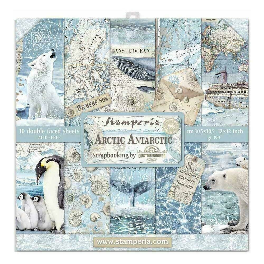 """Stamperia Double-Sided Paper Pad 12""""X12"""" 10/Pkg Arctic Antarctic 10 Designs/1 Each"""