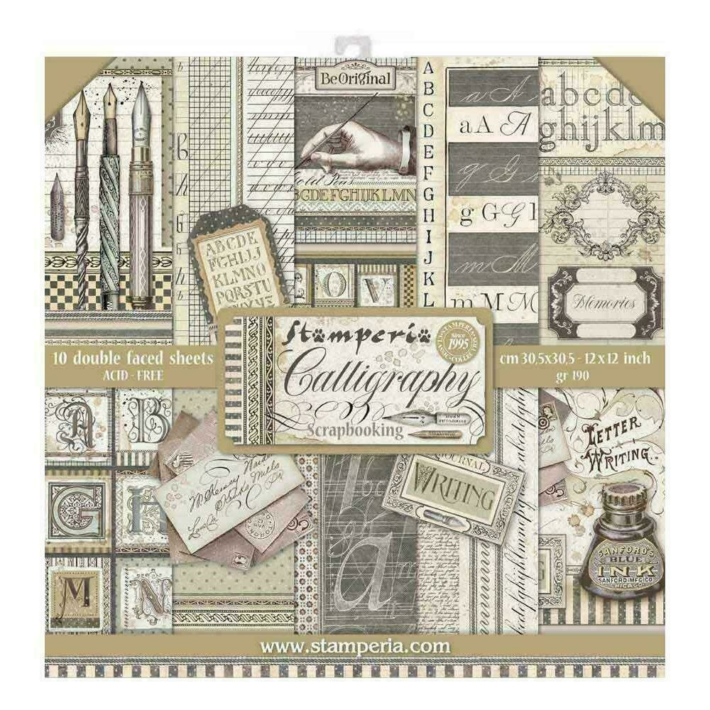 """Stamperia Double-Sided Paper Pad 12""""X12"""" 10/Pkg Calligraphy 10 Designs/1 Each"""