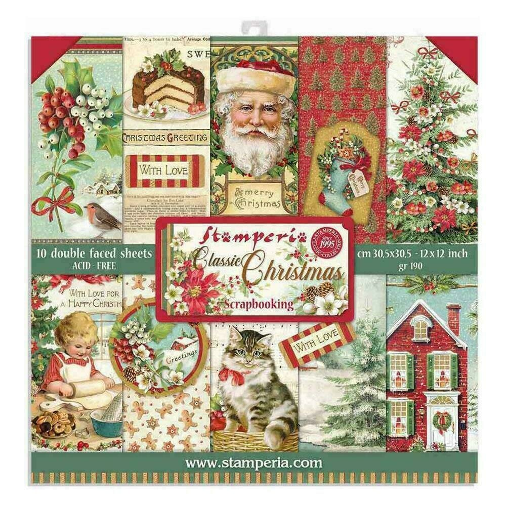 """Stamperia Double-Sided Paper Pad 12""""X12"""" 10/Pkg Classic Christmas 10 Designs/1 Each"""