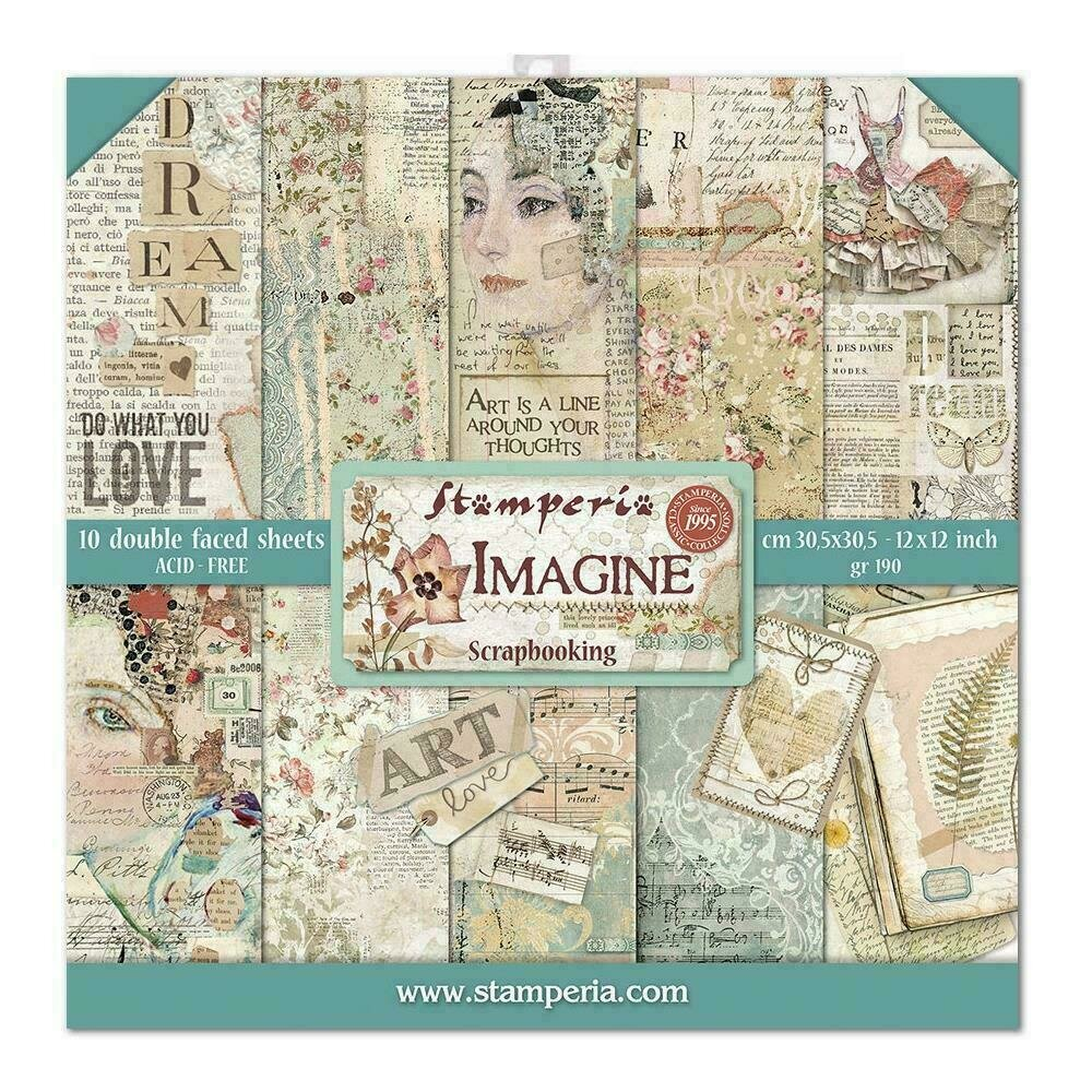 """Stamperia Double-Sided Paper Pad 12""""X12"""" 10/Pkg Imagine 10 Designs/1 Each"""