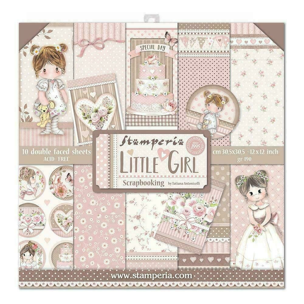 """Stamperia Double-Sided Paper Pad 12""""X12"""" 10/Pkg Little Girl 10 Designs/1 Each"""