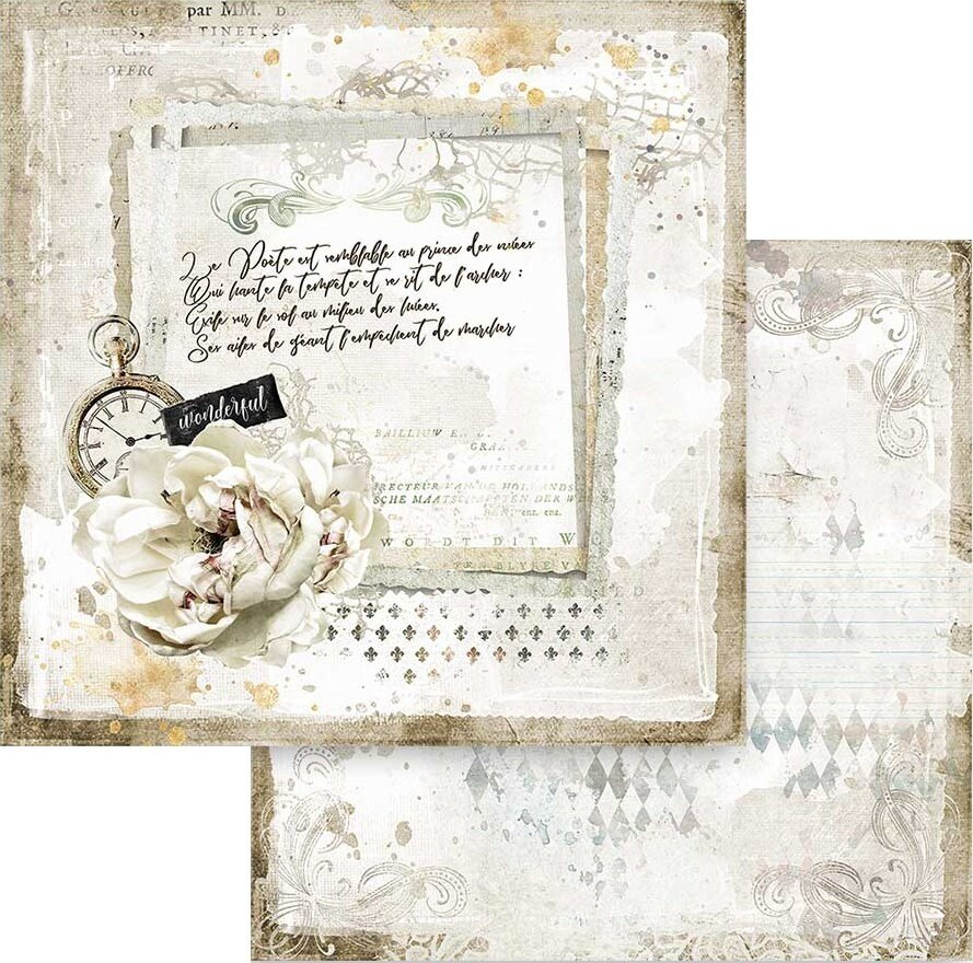 """Stamperia Double-Sided Paper Pad 12""""X12"""" 10/Pkg-Romantic Journal 10 Designs/1 each"""