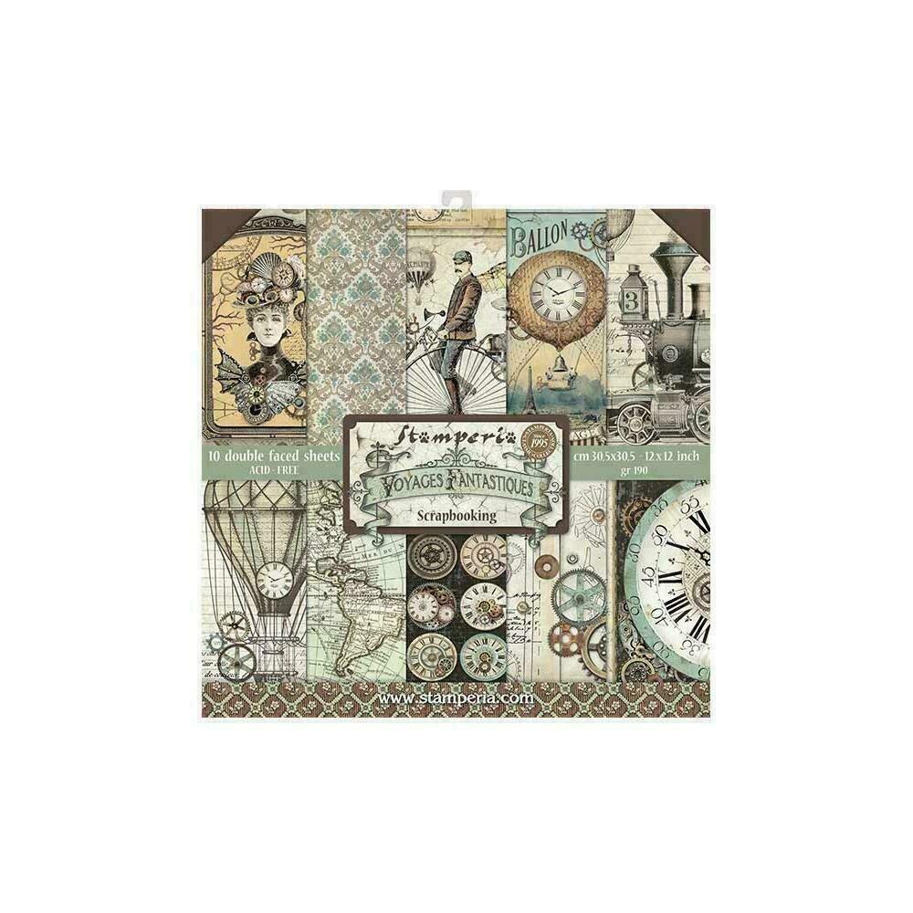 "Stamperia Double-Sided Paper Pad 12""X12"" 10/Pkg Voyages Fantastiques 10 Designs/1 Each"