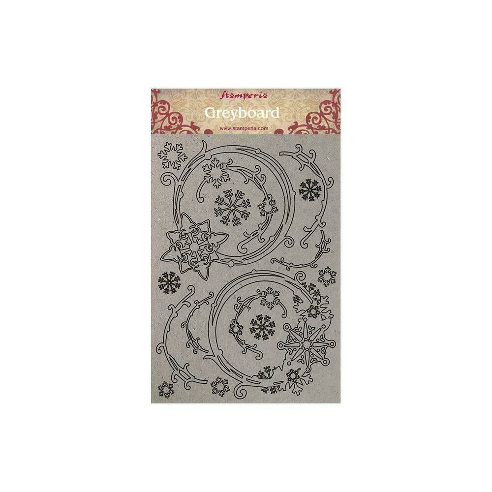 Stamperia Greyboard Cut-Outs A4 1mm Thick Snowflakes & Garlands Winter Tales