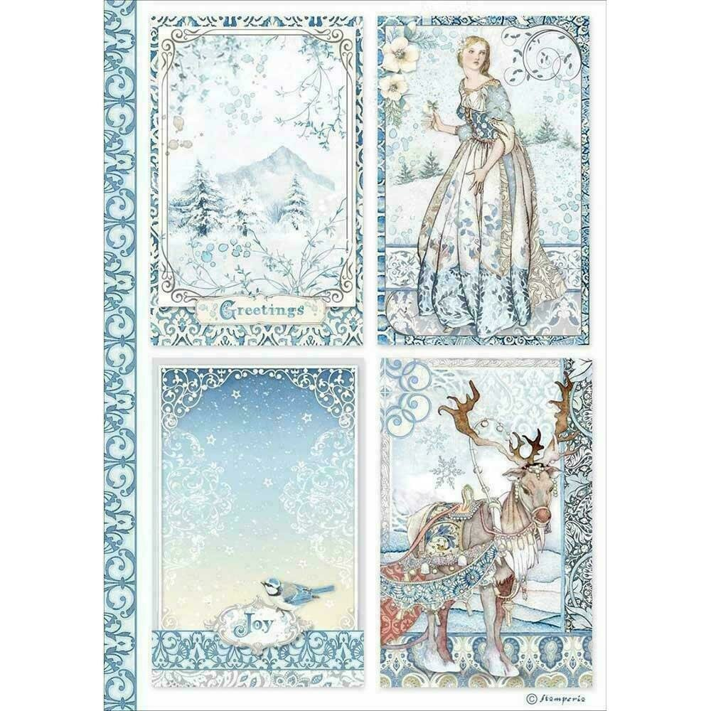 Stamperia Rice Paper Sheet A4 Cards Winter Tales