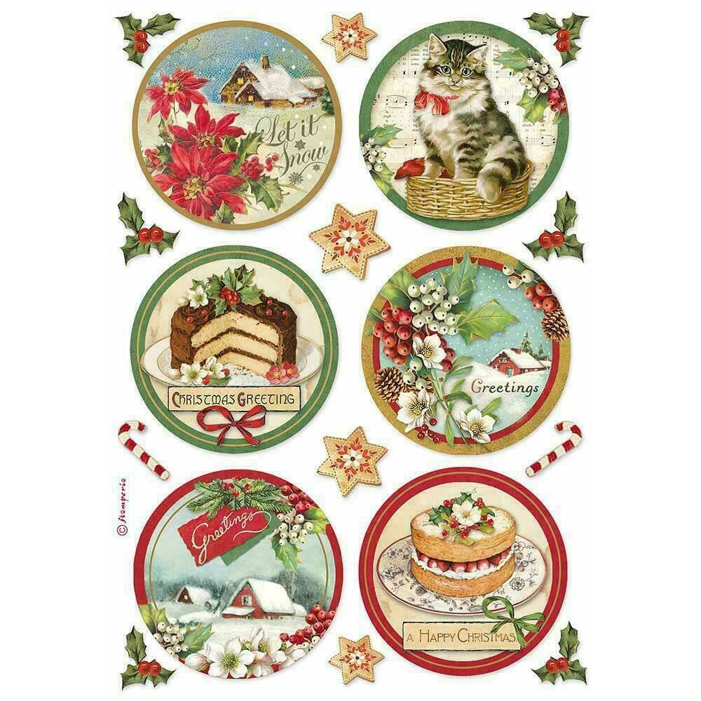 Stamperia Rice Paper Sheet A4 Happy Rounds Classic Christmas