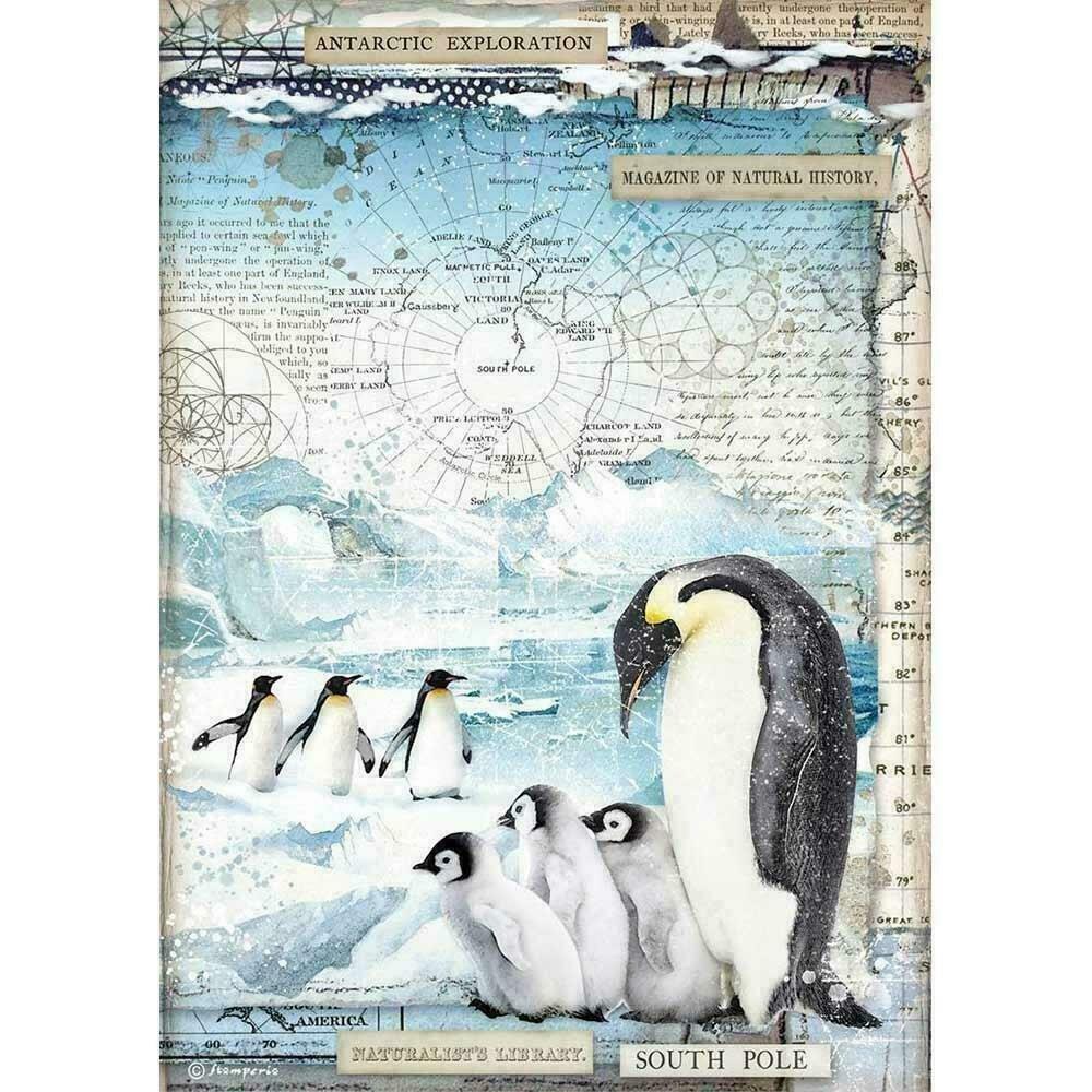 Stamperia Rice Paper Sheet A4 Penguins Arctic Antarctic