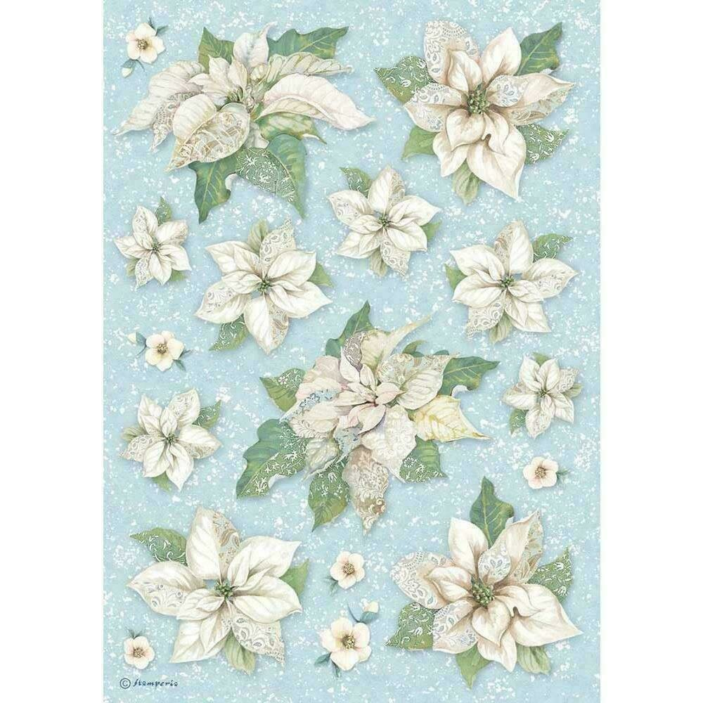 Stamperia Rice Paper Sheet A4 Poinsettia Texture Winter Tales