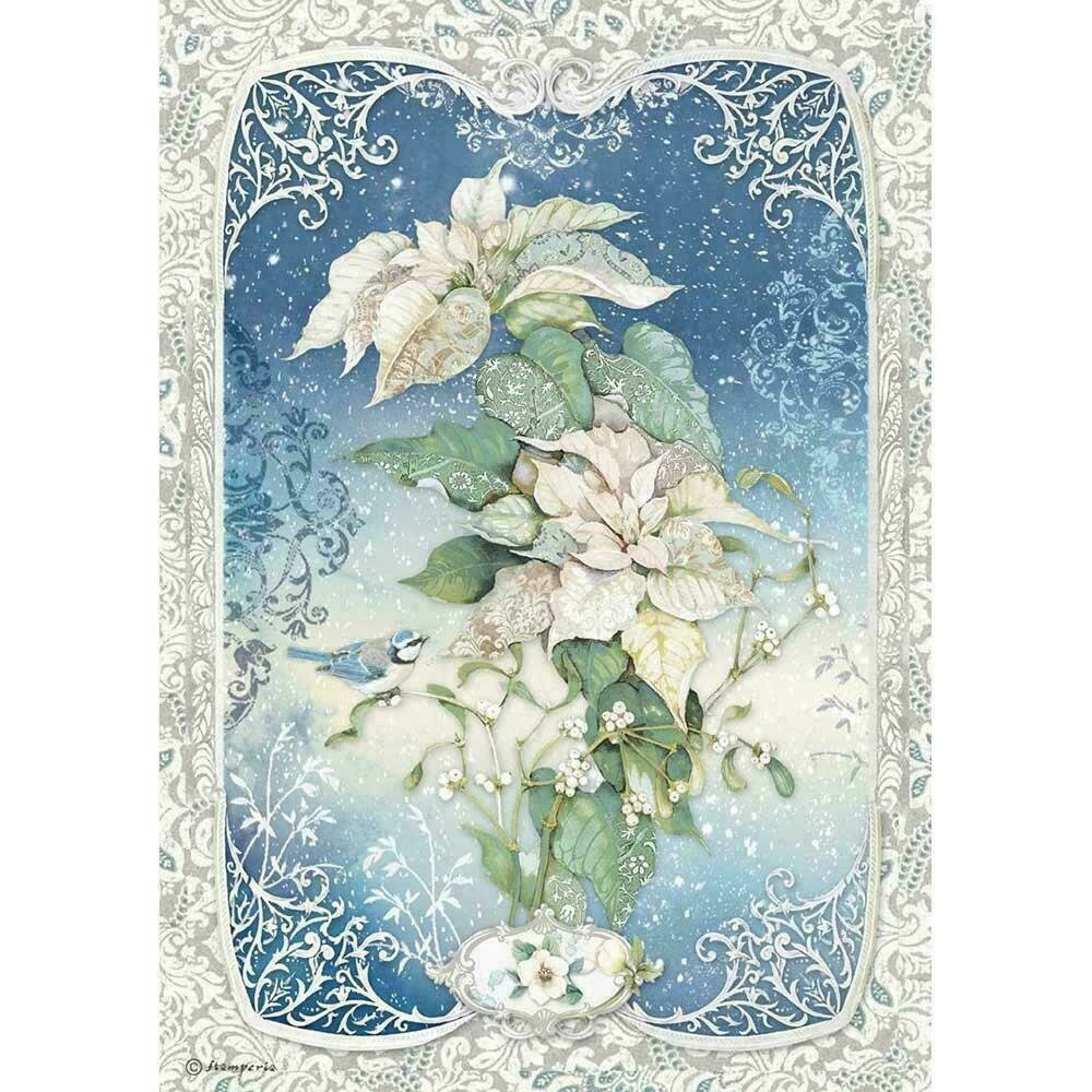 Stamperia Rice Paper Sheet A4 Poinsettia Winter Tales