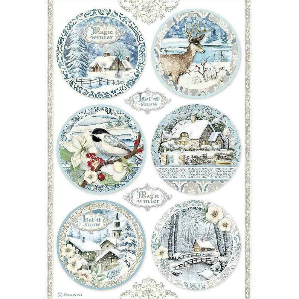 Stamperia Rice Paper Sheet A4 Round Landscapes Winter Tales