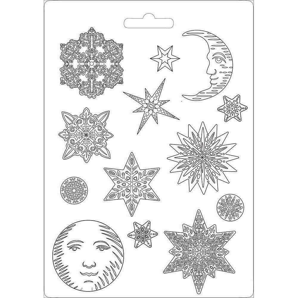 """Stamperia Soft Maxi Mould 8.5""""X11.5"""" Snowflakes Winter Tales"""