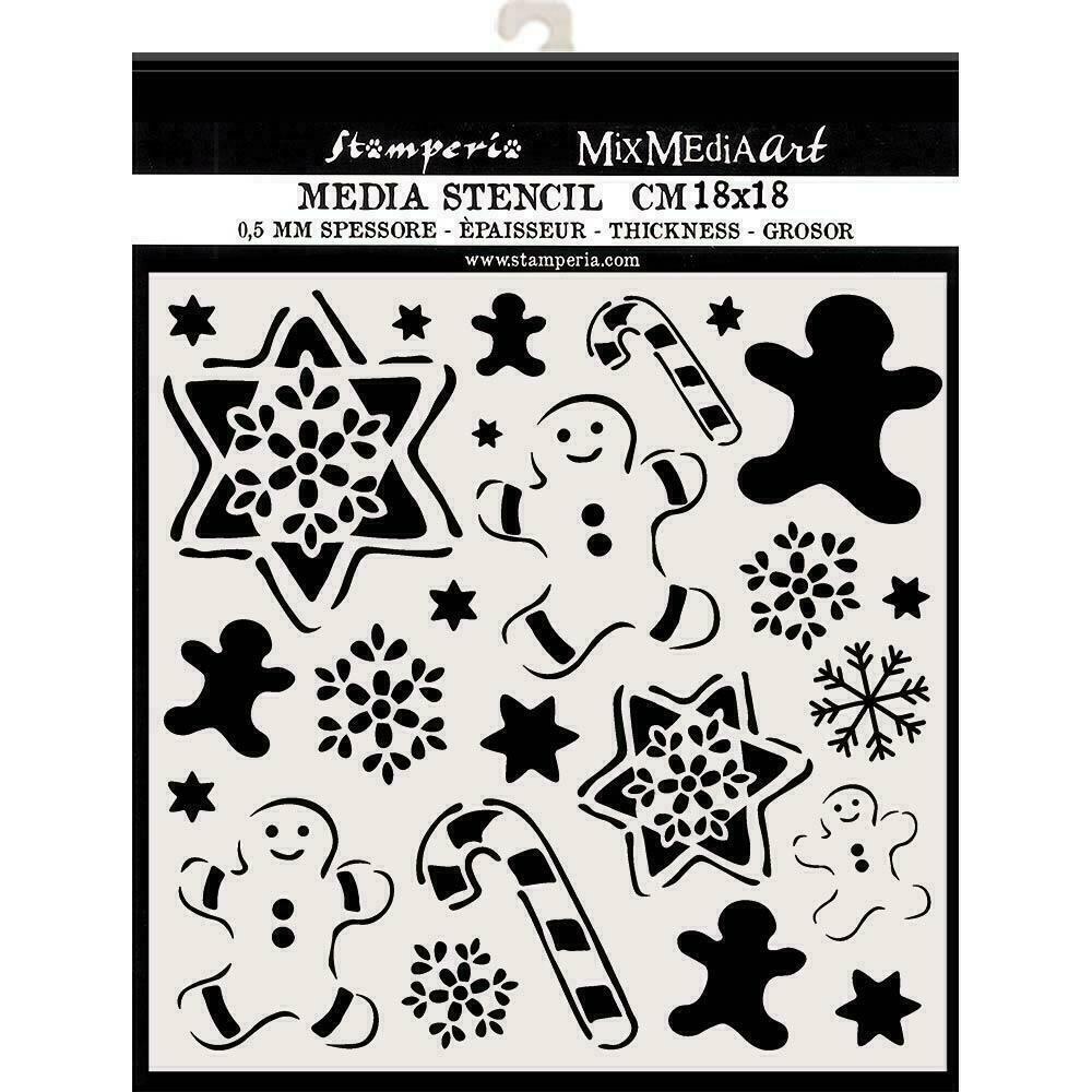 """Stamperia Stencil 7.08""""X7.08"""" Gingerbread"""