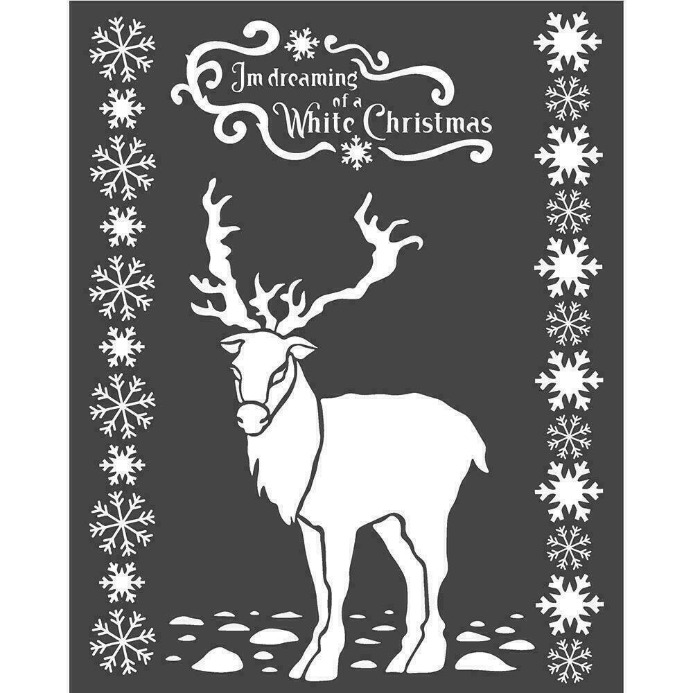"""Stamperia Stencil 7.87""""X9.84"""" White Christmas Deer Winter Tales"""
