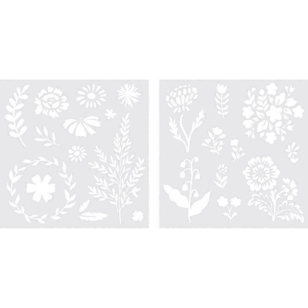 """We R Memory Keepers Foil Quill Freestyle Stencils 7""""X7"""" 2/Pk Floral"""