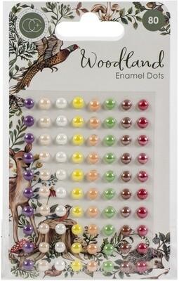 Woodland Adhesive Enamel Dots 80/Pkg-Assorted Colors