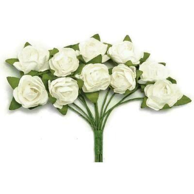 "Kaisercraft Mini Paper Blooms Flowers W/Wire Stem 10/Pkg Coconut .5"""