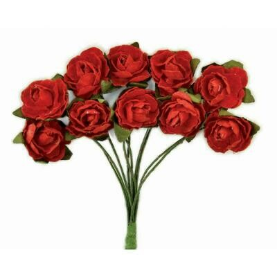 Kaisercraft Mini Paper Blooms Flowers W/Wire Stem 10/PkgFire Red .5in