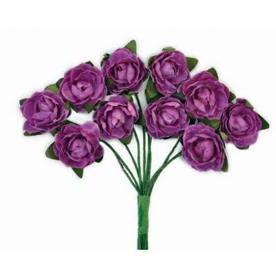 Kaisercraft Mini Paper Blooms Flowers W/Wire Stem 10/Pkg Grape