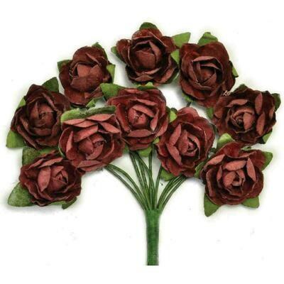 "Kaisercraft Mini Paper Blooms Flowers W/Wire Stem 10/Pkg Aubergine .5"""