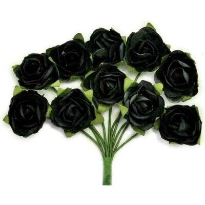 Kaisercraft Mini Paper Blooms Flowers W/Wire Stem 10/Pkg Black