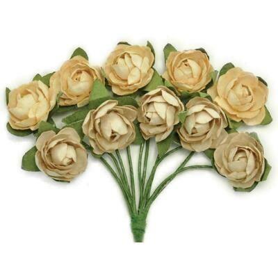 Kaisercraft Mini Paper Blooms Flowers W/Wire Stem 10/Pkg Honey