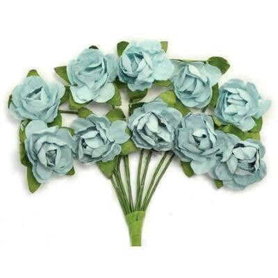 Kaisercraft Mini Paper Blooms Flowers W/Wire Stem 10/Pkg Iceberg