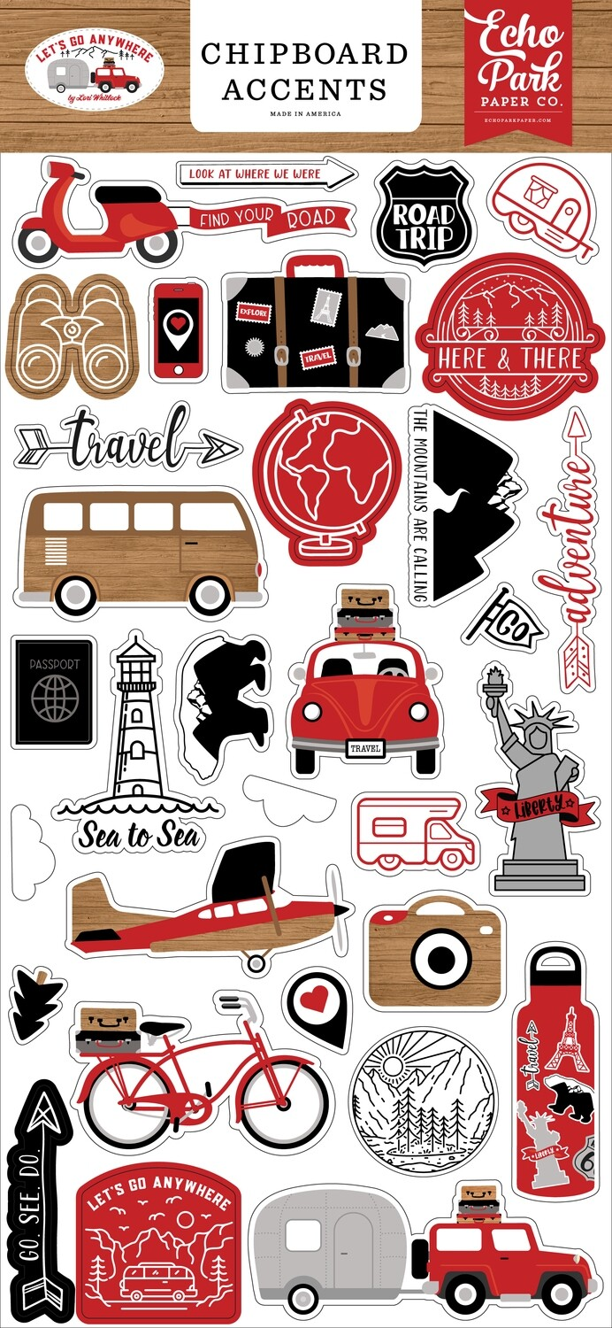 Echo Park Let's Go Anywhere 6x13 Chipboard Accents