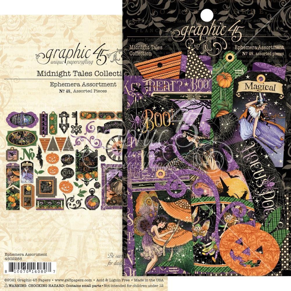 Midnight Tales By Graphic 45 Ephemera Assortment 48pcs