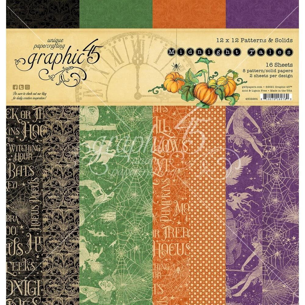 Midnight Tales By Graphic 45 Pattern And Solid Designs Pack 16 12x12 Sheets