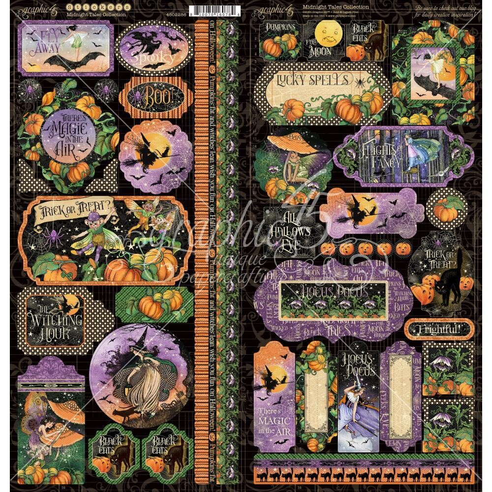 Midnight Tales By Graphic 45 Stickers 2 Unique Sheets