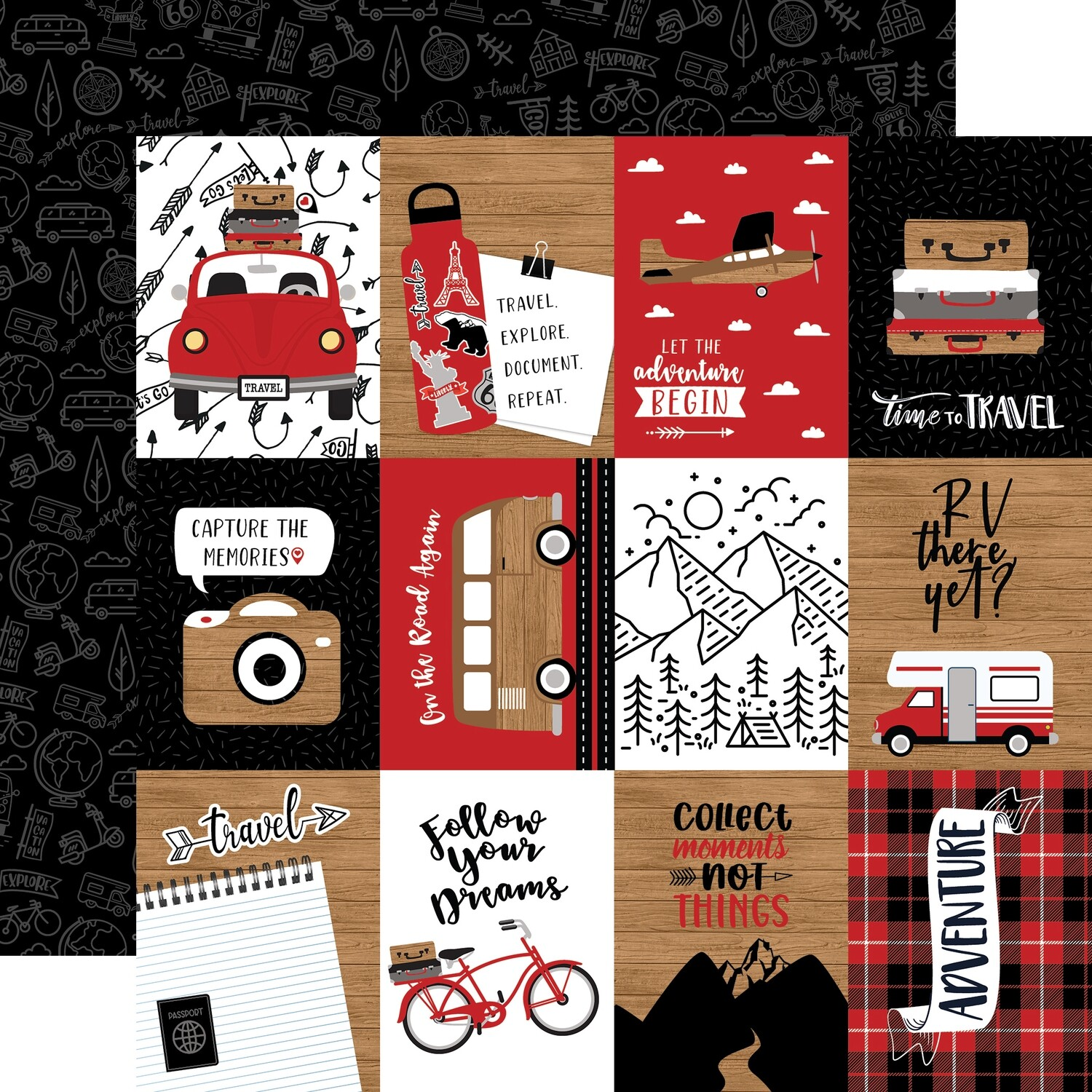 Let's Go Anywhere 12x12 Sheet Of 3x4 Journaling Cards