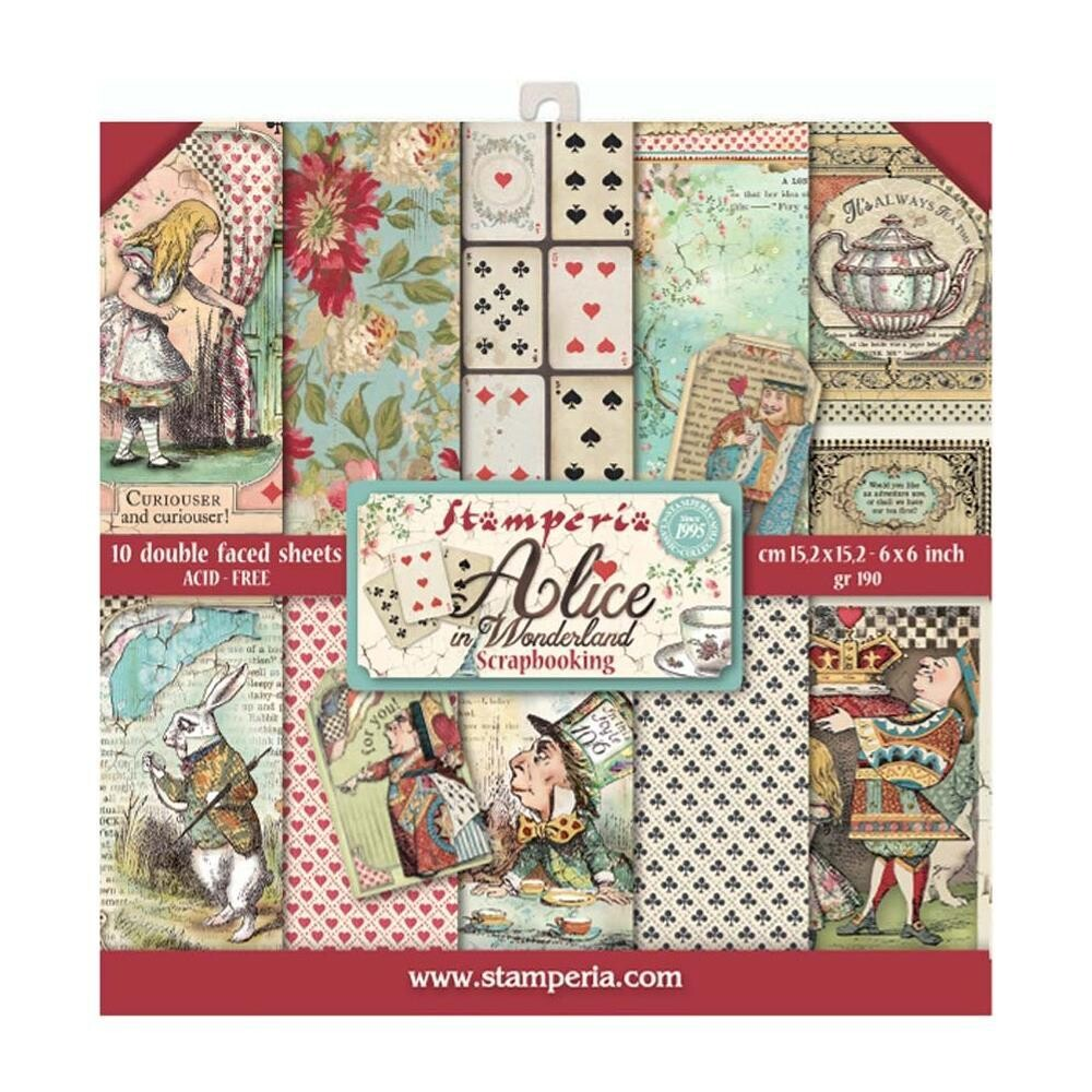 Stamperia Double Sided 6x6 Paper Pad - Alice In Wonderland