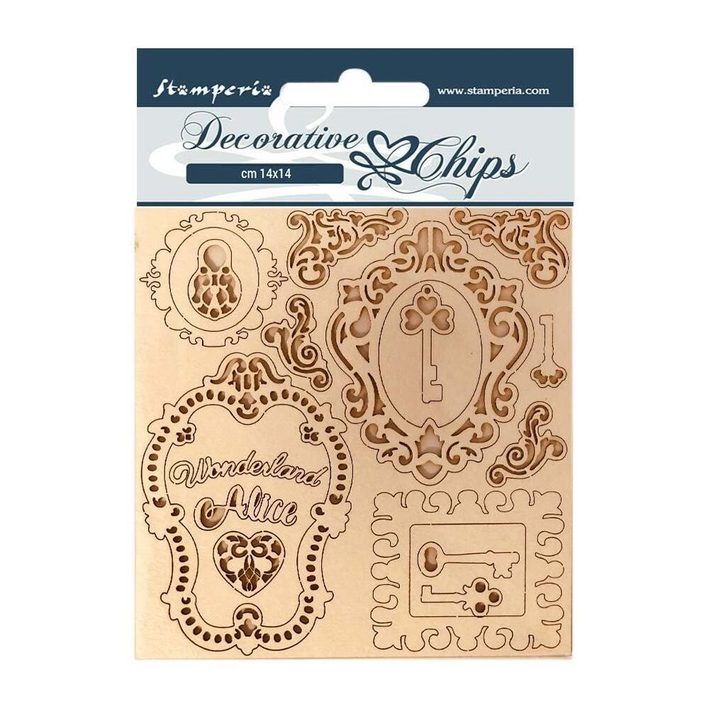"Stamperia Decorative 5.5""x5.5"" Chips - Alice Keys And Frames"