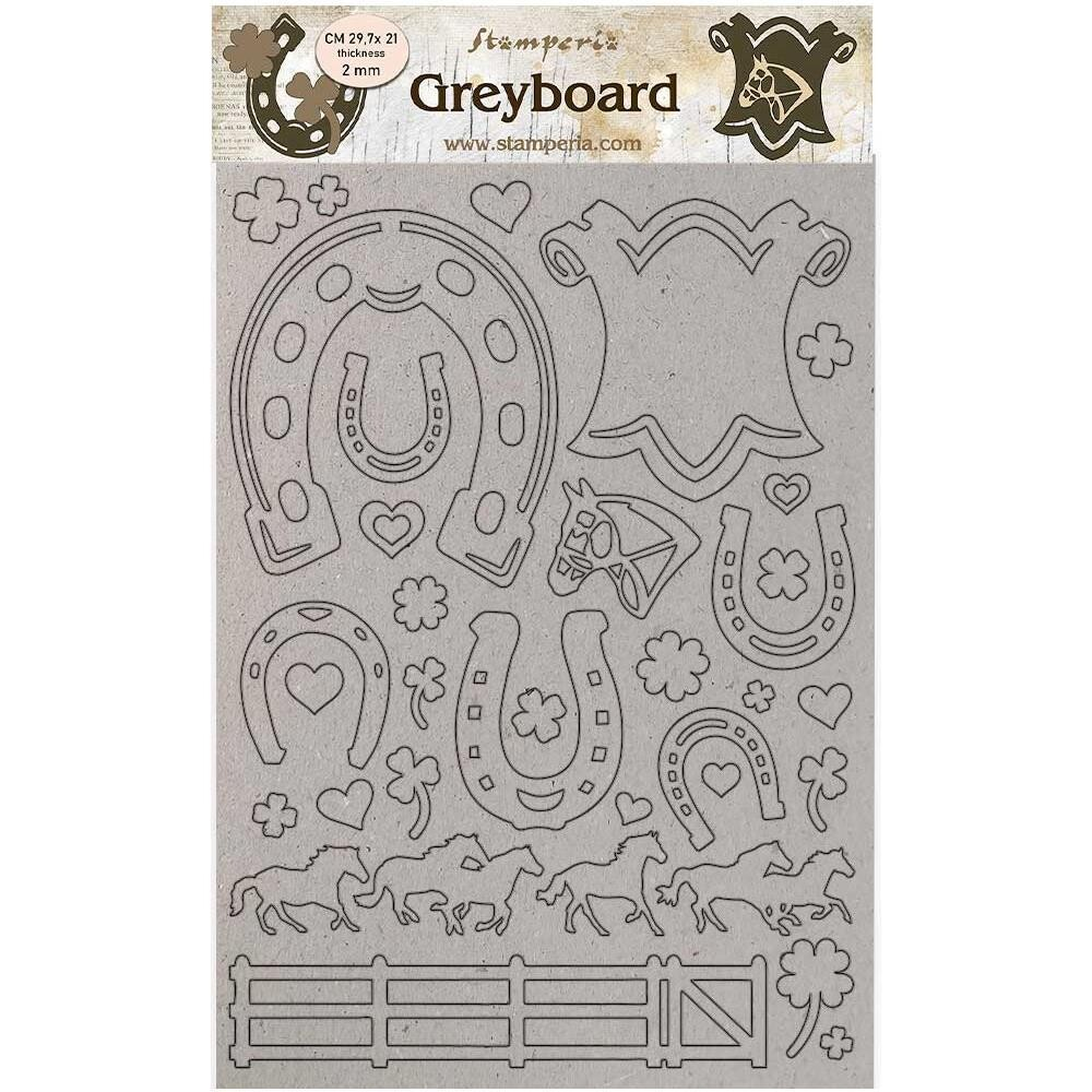 Stamperia Greyboard Cut-outs Romantic Horses - Horseshoes