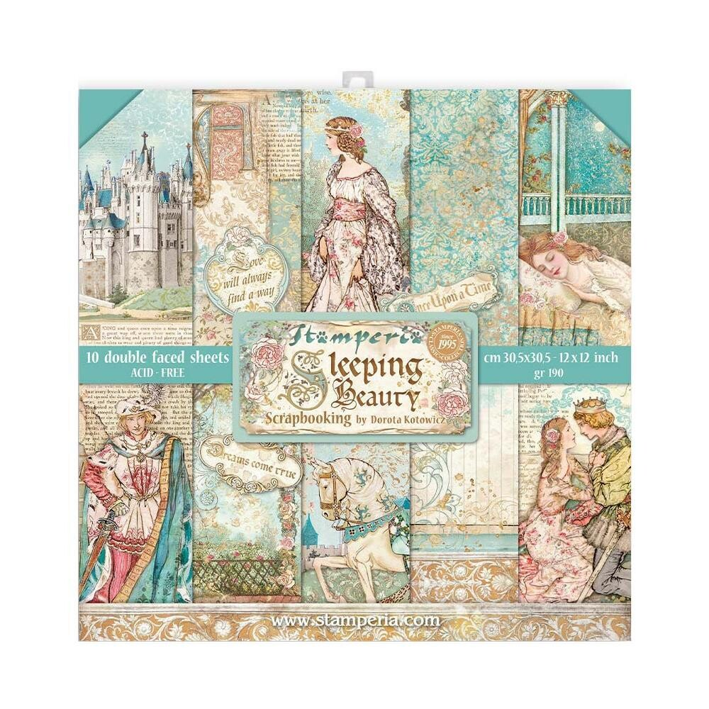 Stamperia Double Sided 12x12 Paper Pad 10 Designs 1 Of Each - Sleeping Beauty
