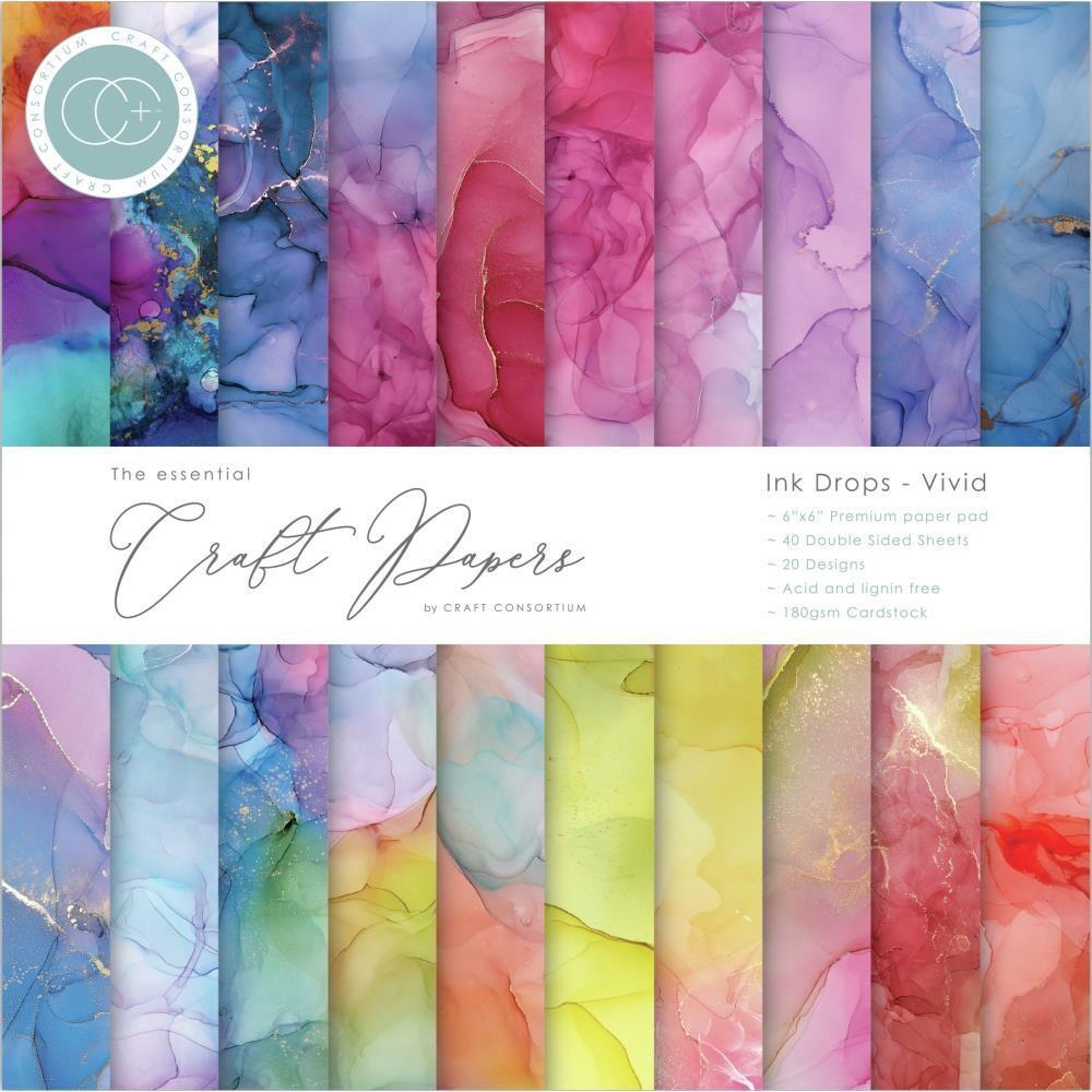 Craft Consortium 6x6 Paper Pad - Ink Drops - Vivid