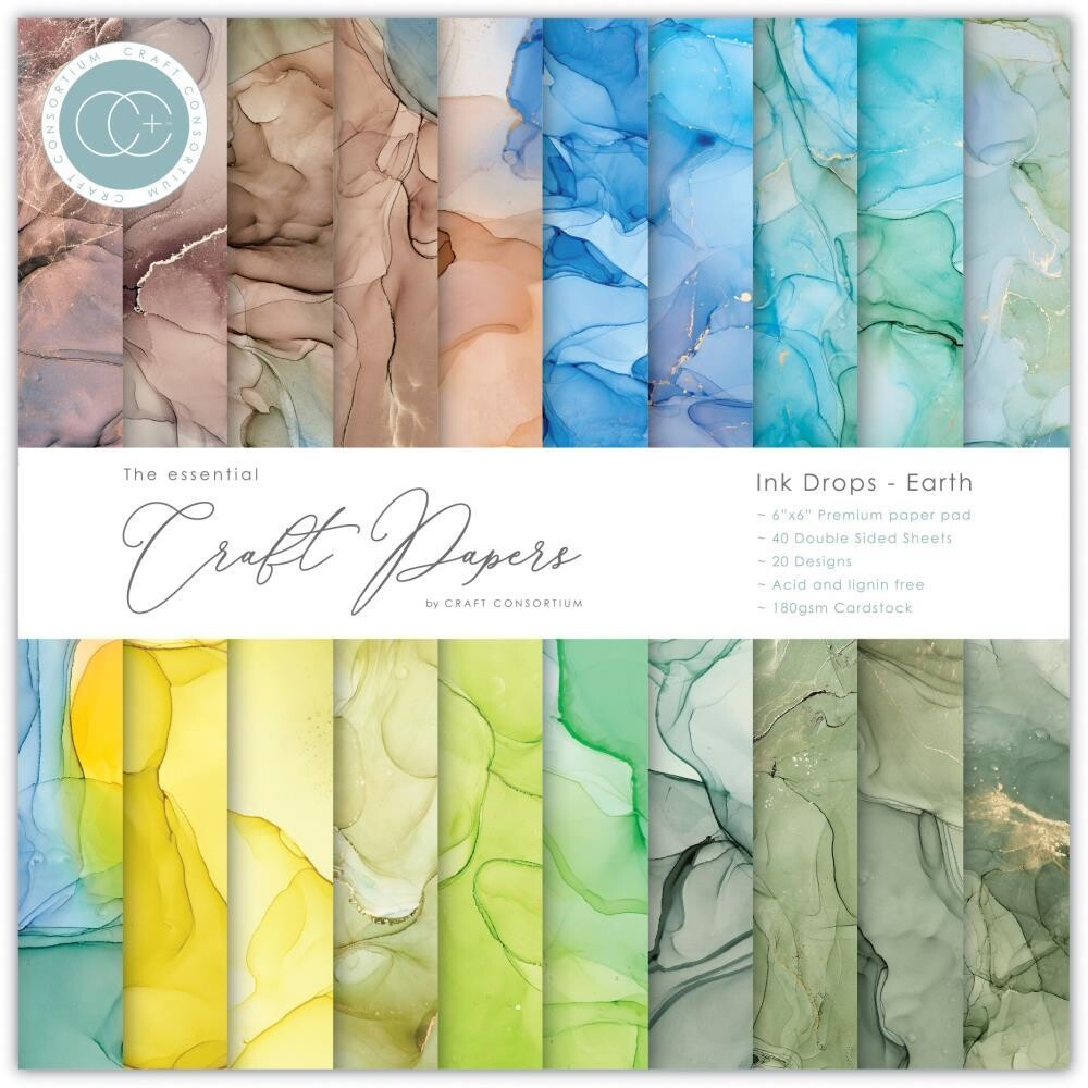 Craft Consortium 6x6 Paper Pad - Ink Drops - Earth