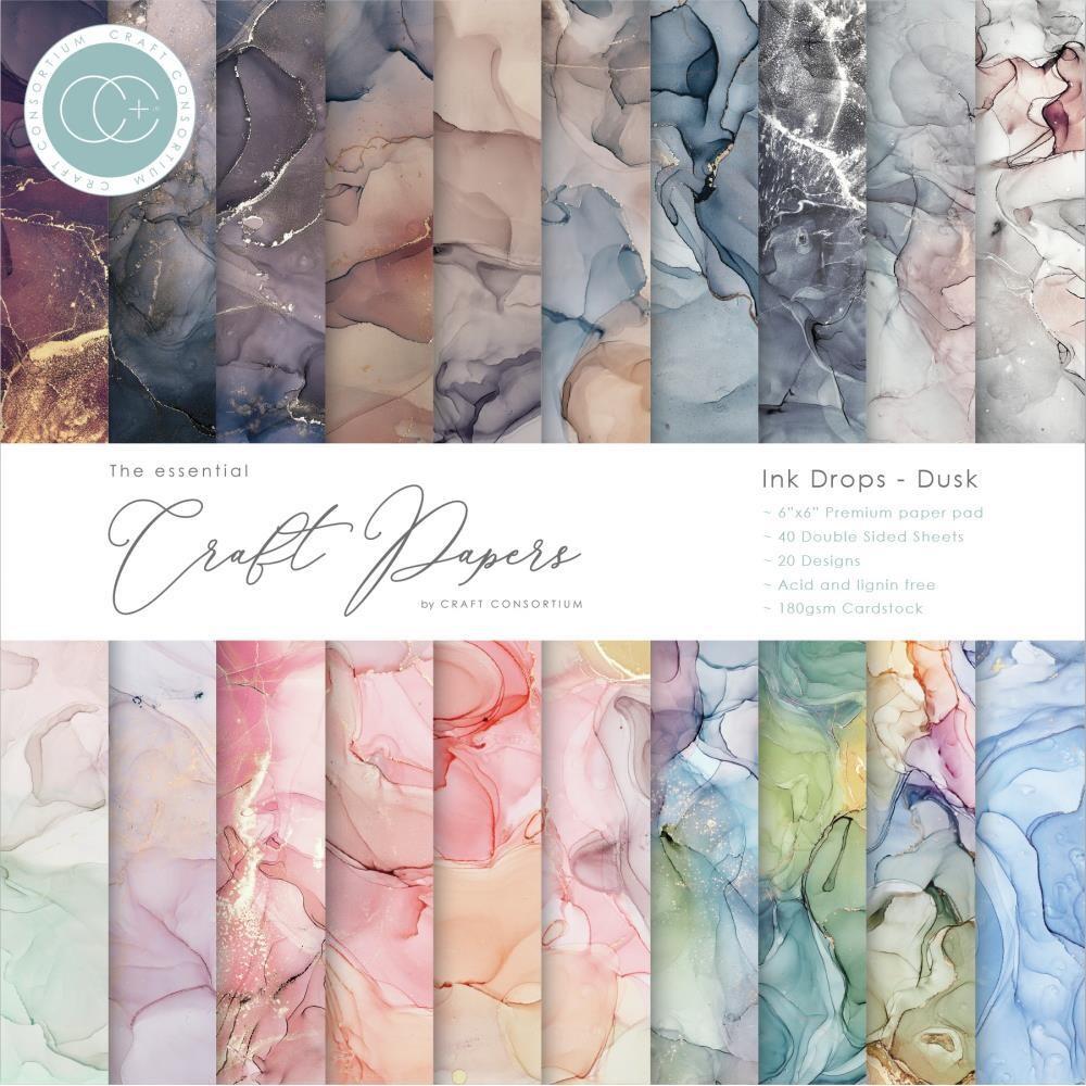 Craft Consortium 6x6 Paper Pad - Ink Drops - Dusk