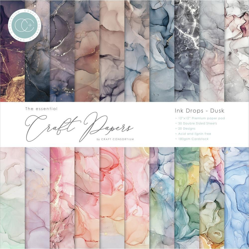 Craft Consortium 12x12 Paper Pad - Ink Drops - Dusk