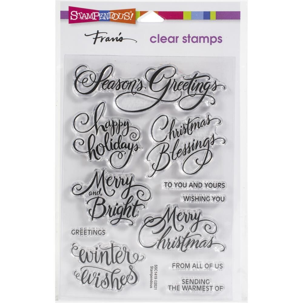 Stampendous Clear Stamps - Brushed Christmas Greetings