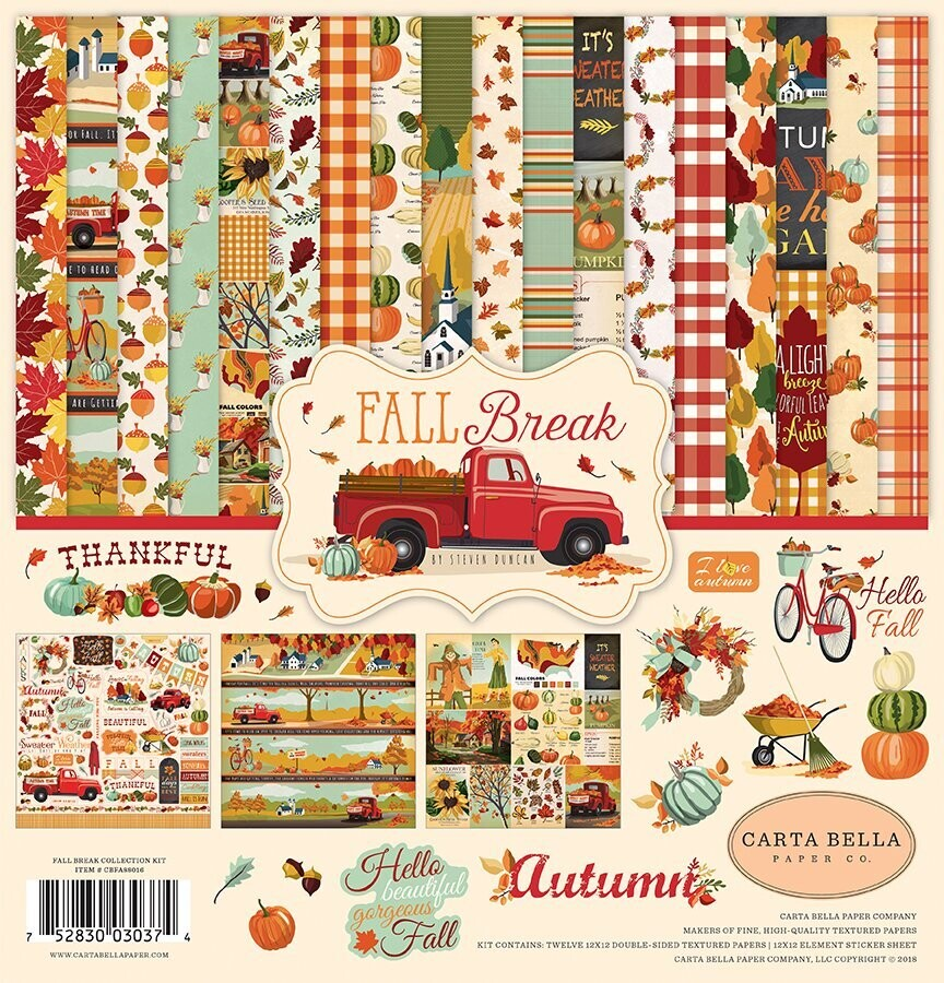 """Carta Bella Fall Break Collection Pack - 12 Double Sided 12"""" X 12"""" Paper With Element Stickers"""