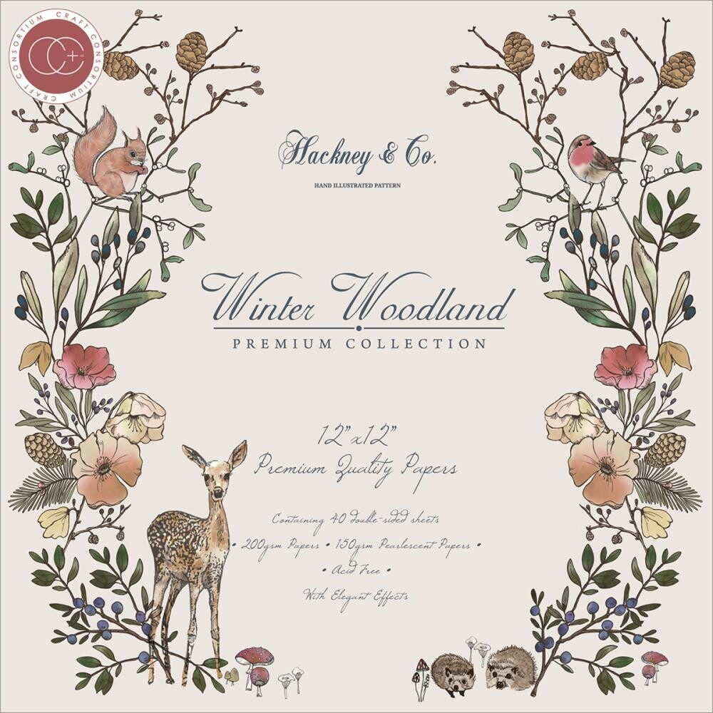 Craft Consortium 12 X 12 Double Sided Paper Pad - Winter Woodland - 40 Sheets
