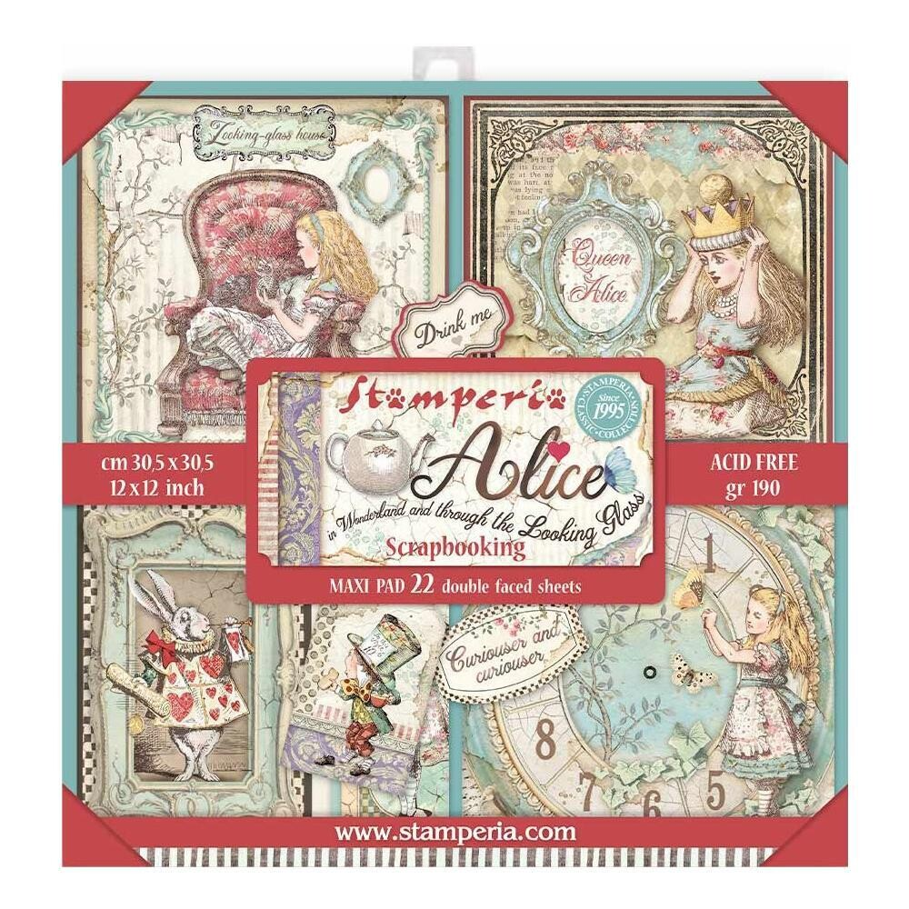 """Stamperia Alice Through The Looking Glass 22 12"""" X12"""" Collection Pack"""