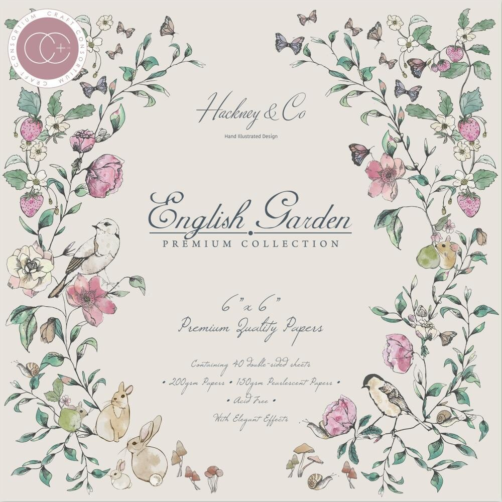Craft Consortium English Garden 6x6 Pad - 40 Double Sided Sheets