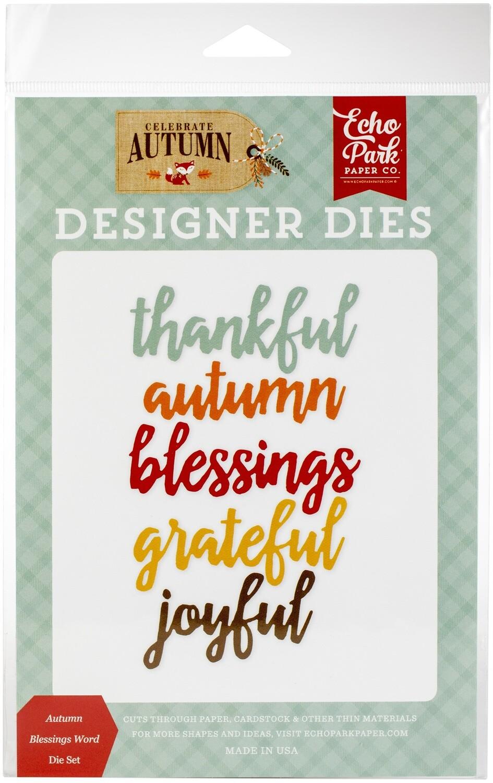 Echo Park Celebrate Autumn Designer Dies - Autumn Blessings Word Dies