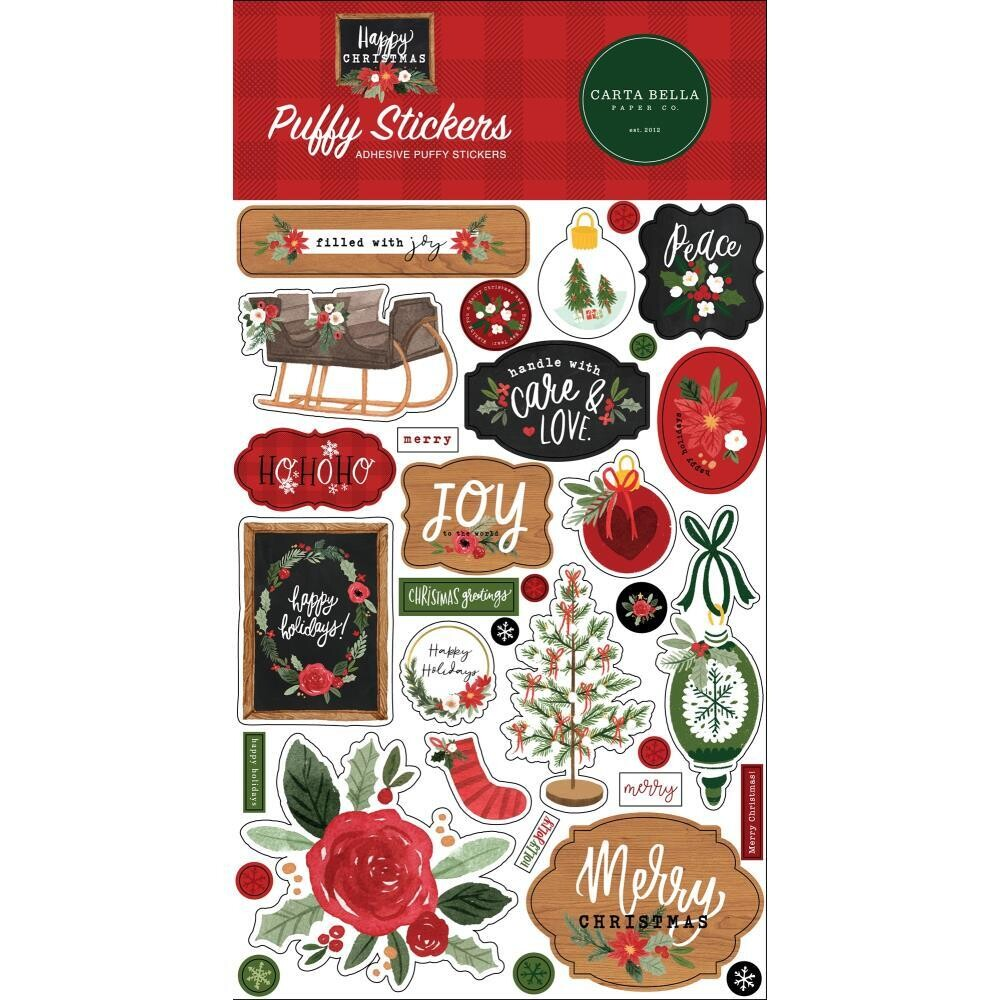 Carta Bella Happy Christmas Puffy Stickers